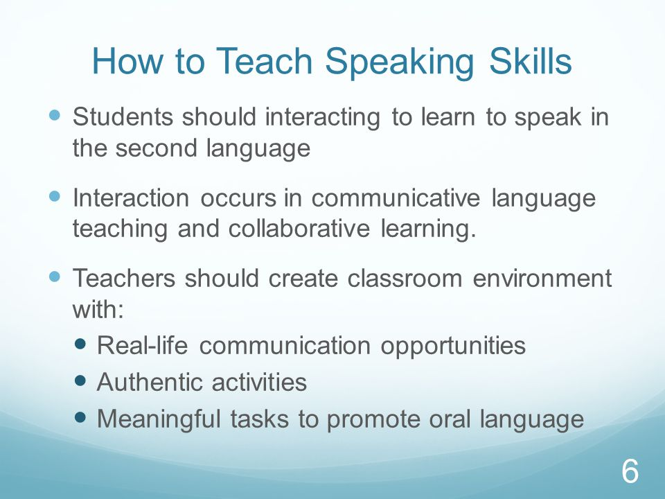 Collaborative Learning In Classroom Interaction ~ Teaching and assessing speaking skills in a second