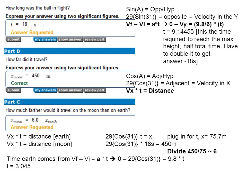 Sin(A) = Opp/Hyp 29{Sin(31)} = opposite = Velocity in the Y. Vf – Vi = a*t  0 – Vy = (9.8/6) * (t)