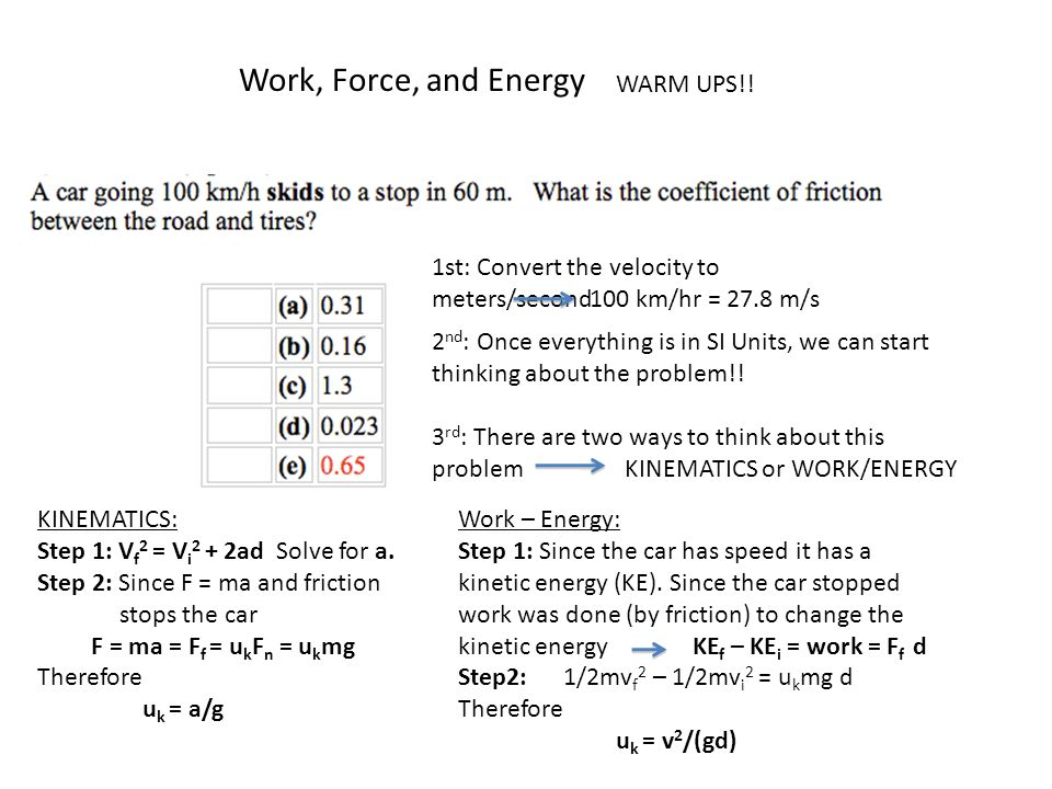 Work, Force, and Energy WARM UPS!!