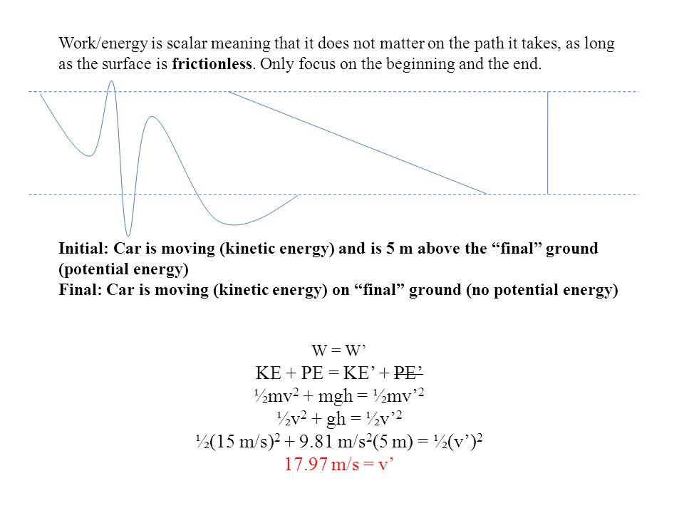 KE + PE = KE' + PE' ½mv2 + mgh = ½mv'2 ½v2 + gh = ½v'2