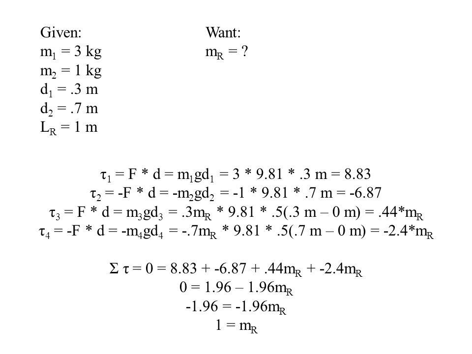 τ3 = F * d = m3gd3 = .3mR * 9.81 * .5(.3 m – 0 m) = .44*mR