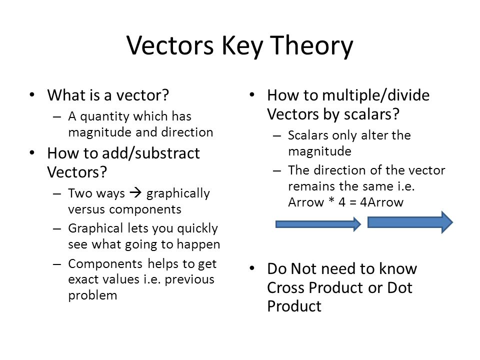 Vectors Key Theory What is a vector How to add/substract Vectors