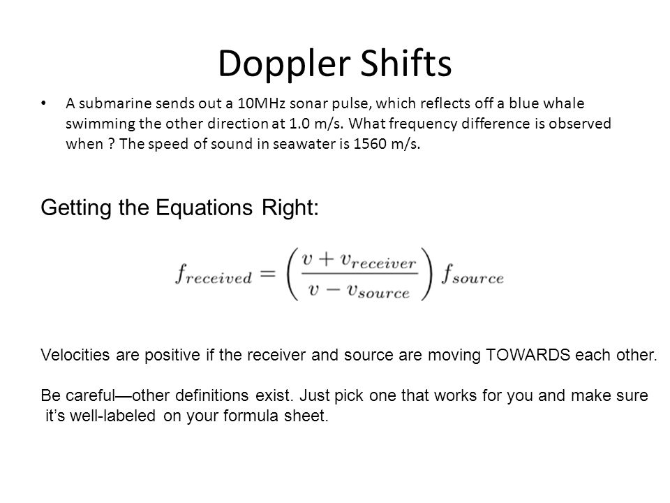 Doppler Shifts Getting the Equations Right: