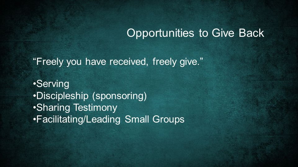 Opportunities to Give Back