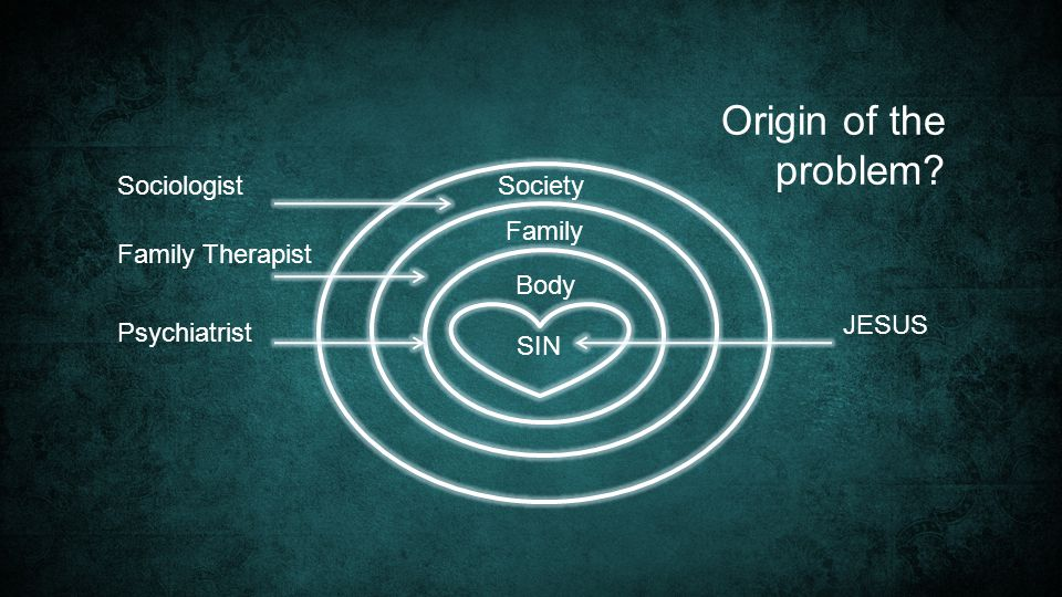 Origin of the problem Sociologist SIN Society Family Family Therapist