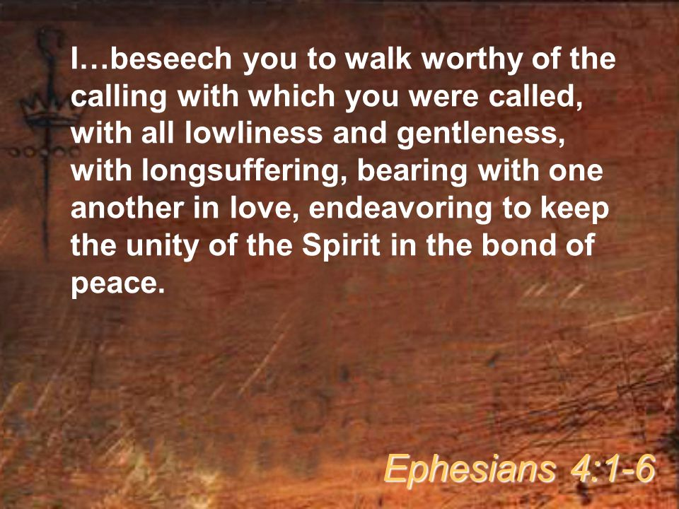 I…beseech you to walk worthy of the calling with which you were called, with all lowliness and gentleness, with longsuffering, bearing with one another in love, endeavoring to keep the unity of the Spirit in the bond of peace.