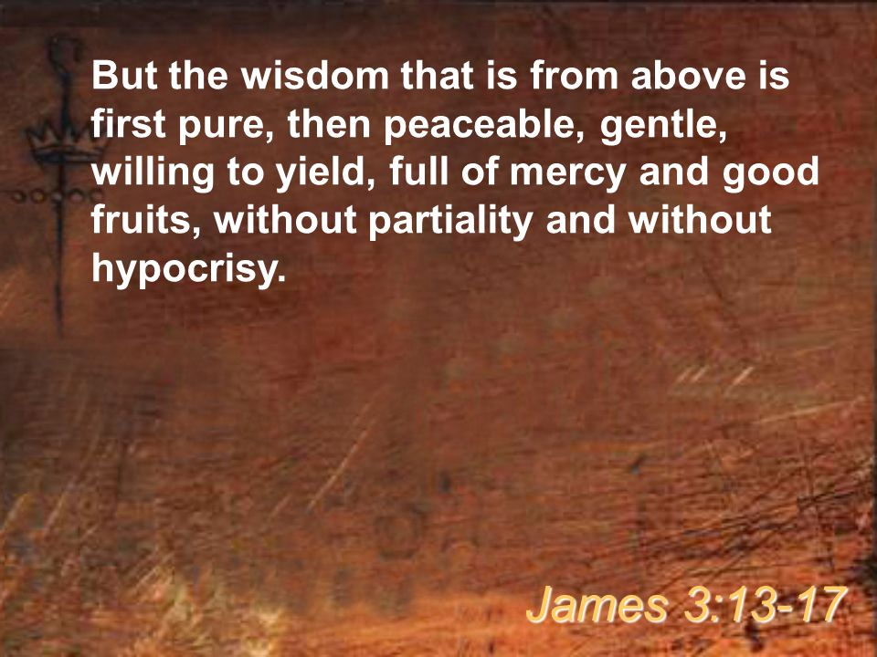 But the wisdom that is from above is first pure, then peaceable, gentle, willing to yield, full of mercy and good fruits, without partiality and without hypocrisy.