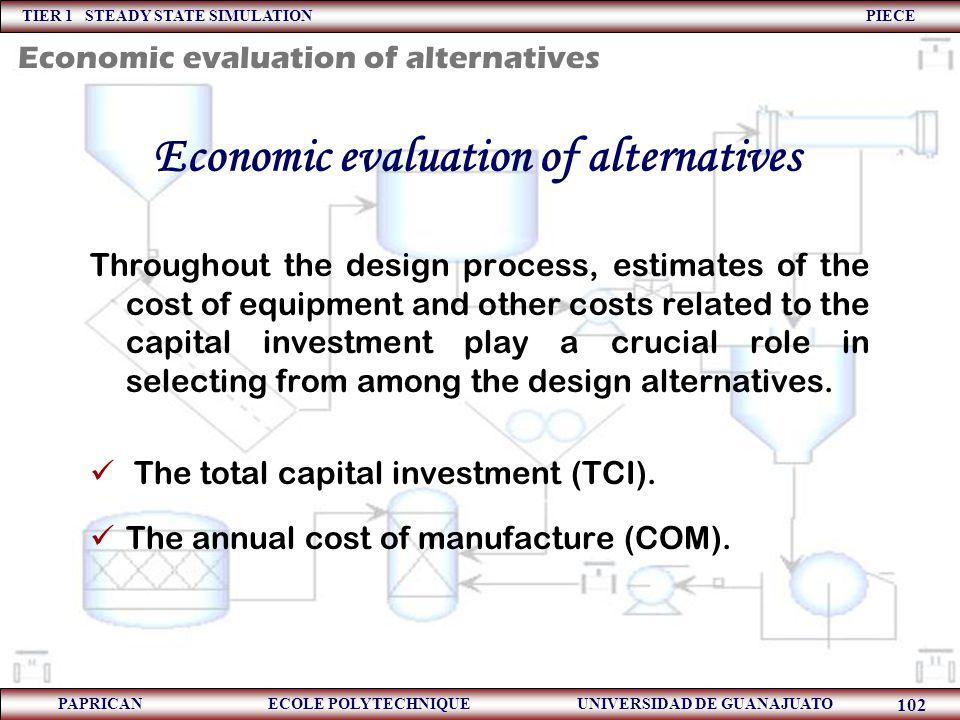 Economic evaluation of alternatives