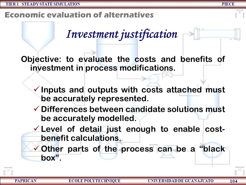 Investment justification