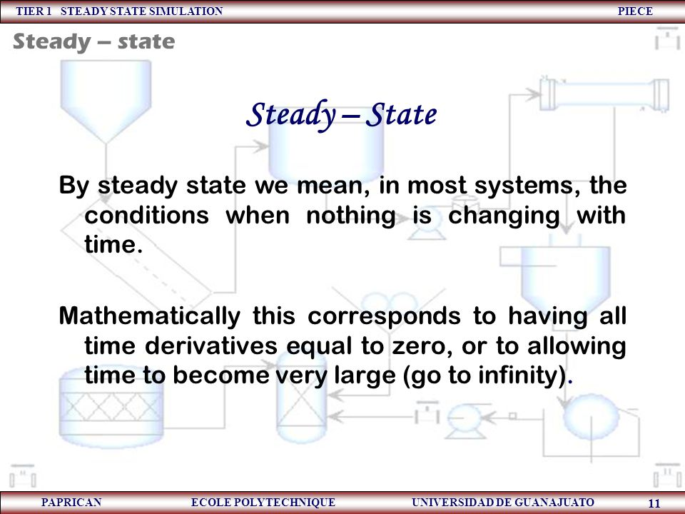 Steady – state Steady – State. By steady state we mean, in most systems, the conditions when nothing is changing with time.