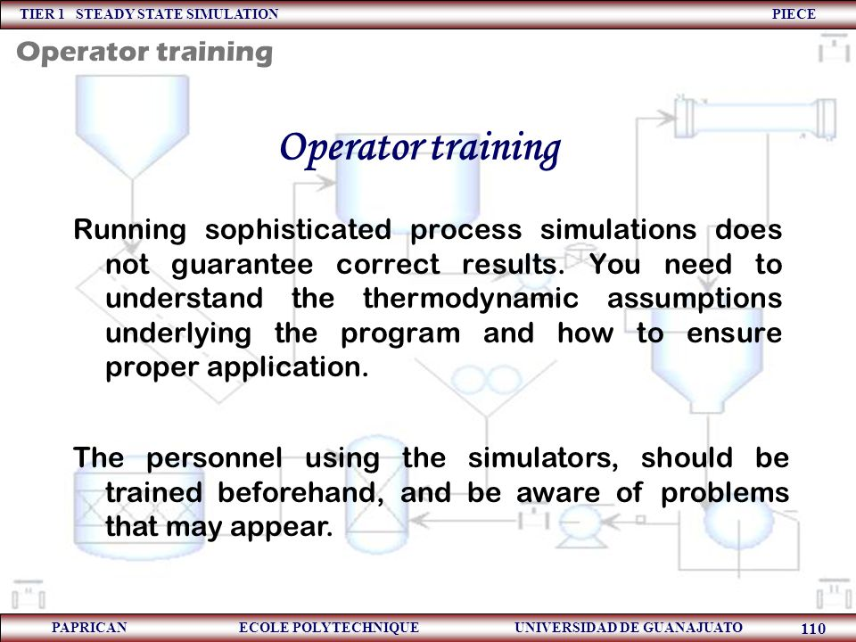 Operator training Operator training