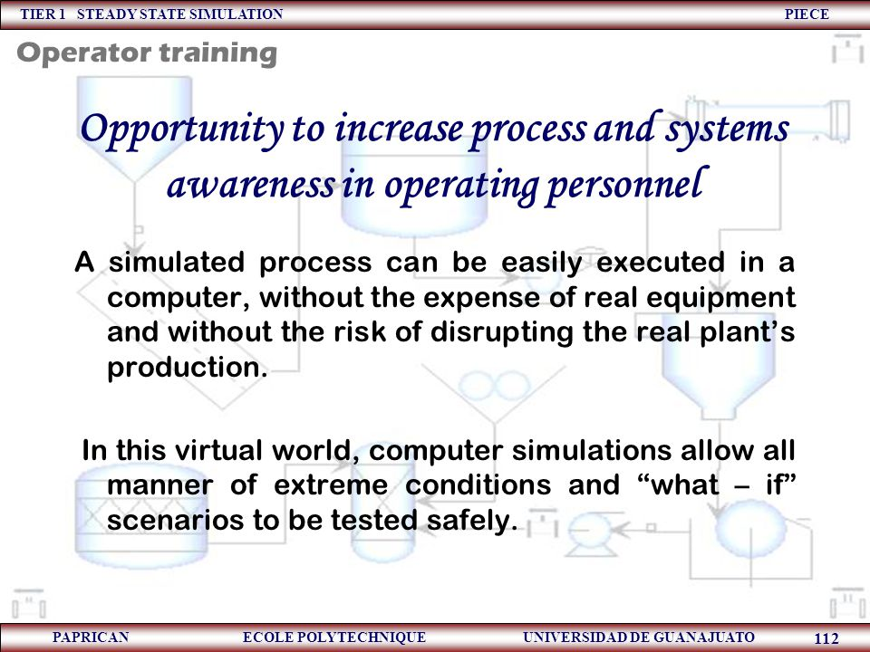 Operator training Opportunity to increase process and systems awareness in operating personnel.