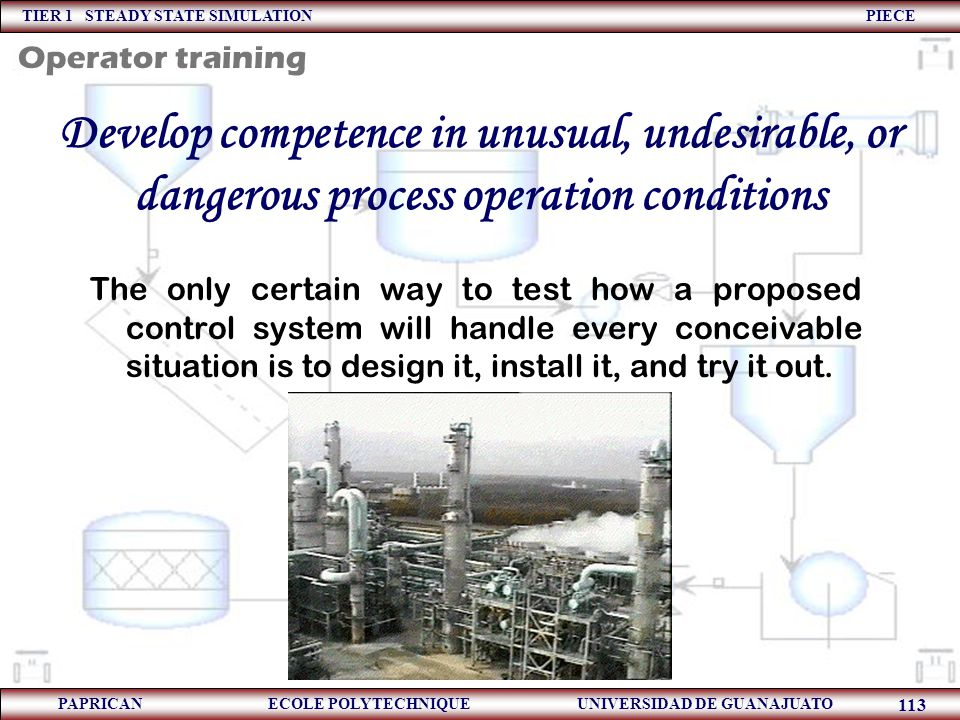 Operator training Develop competence in unusual, undesirable, or dangerous process operation conditions.
