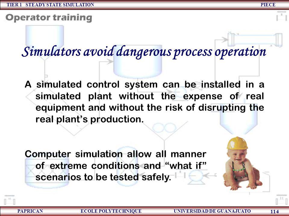 Simulators avoid dangerous process operation