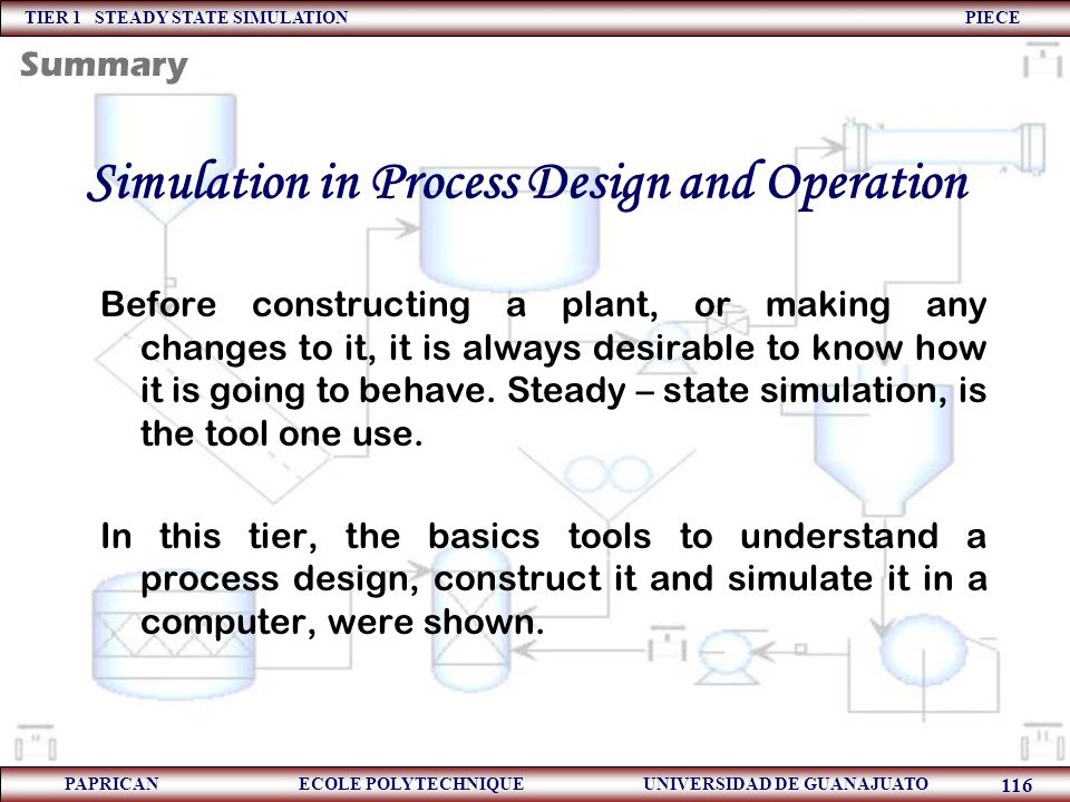 Simulation in Process Design and Operation