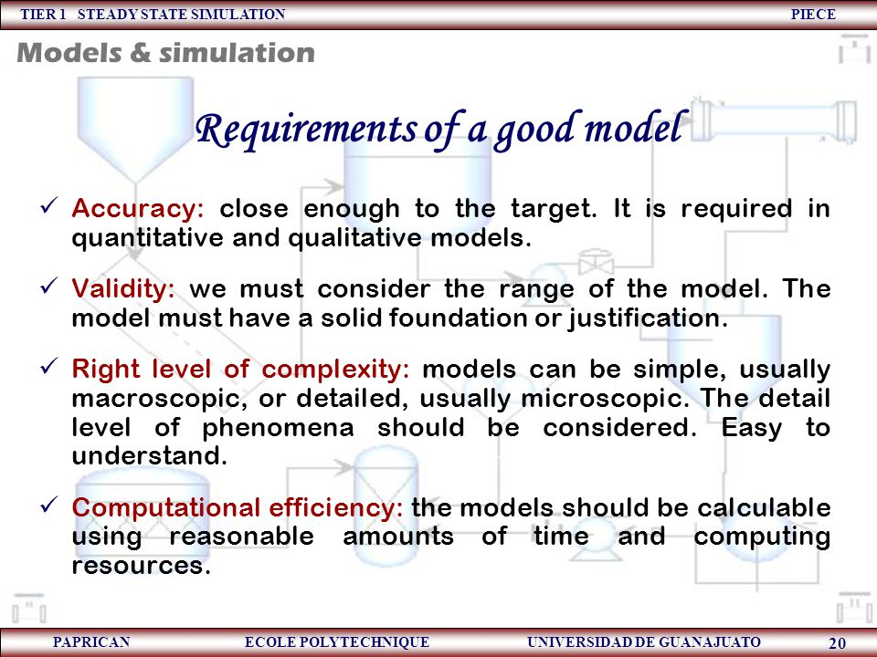 Requirements of a good model