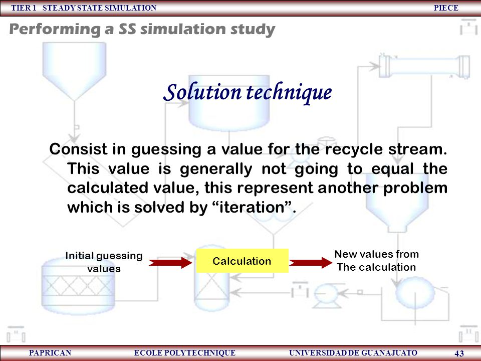 Solution technique Performing a SS simulation study