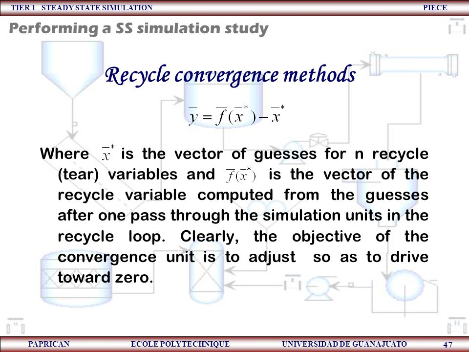 Recycle convergence methods
