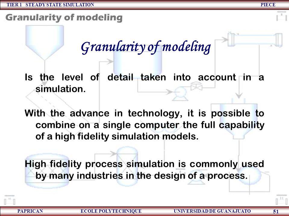 Granularity of modeling