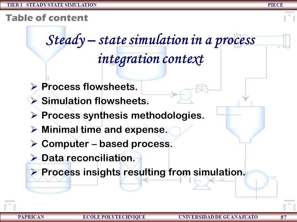 Steady – state simulation in a process integration context