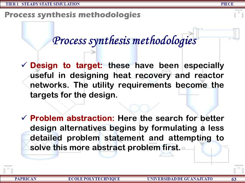 Process synthesis methodologies