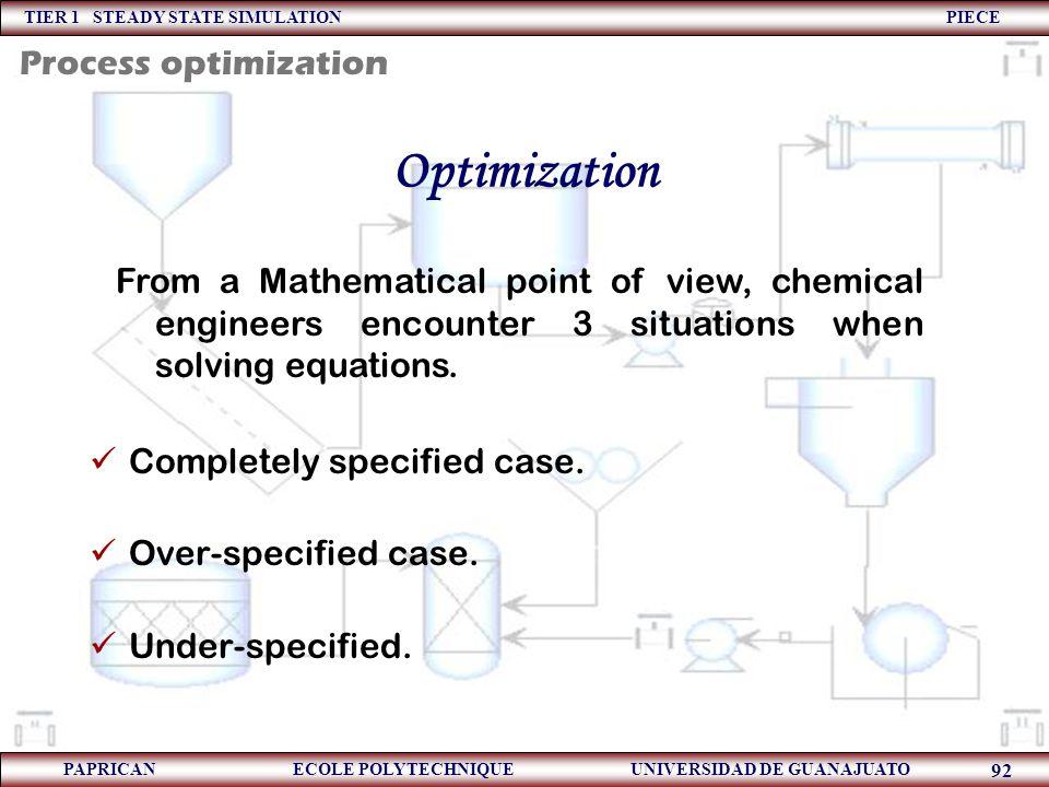 Optimization Process optimization