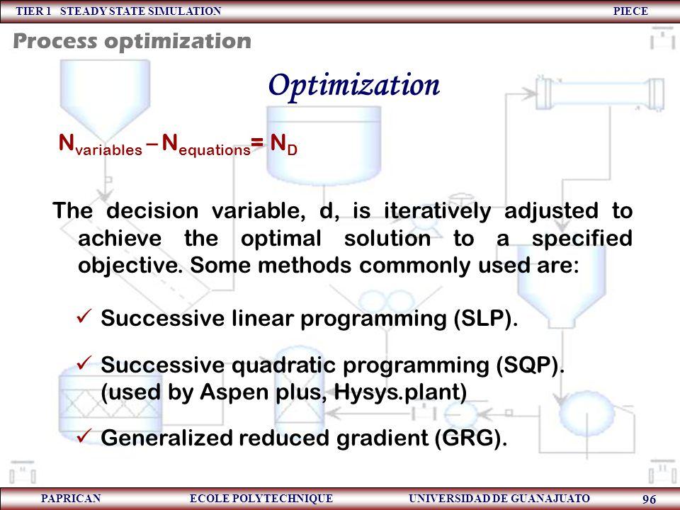 Optimization Process optimization Nvariables – Nequations= ND