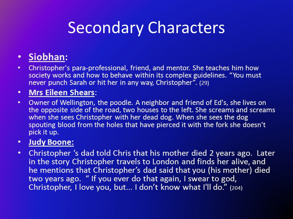 Secondary Characters Siobhan: Mrs Eileen Shears: Judy Boone: