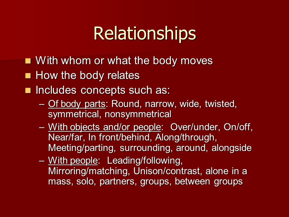 Relationships With whom or what the body moves How the body relates