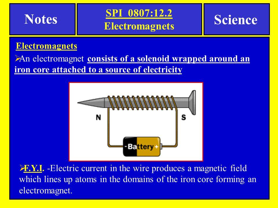 Notes Science SPI 0807:12.2 Electromagnets Electromagnets