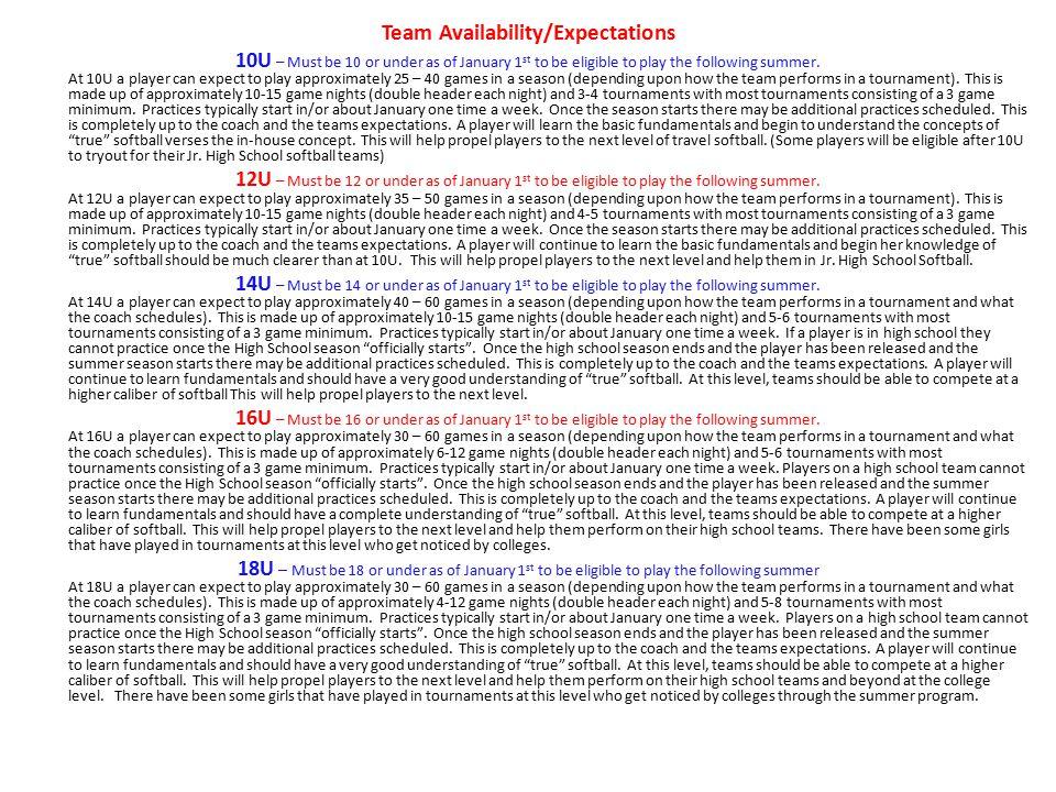 Team Availability/Expectations