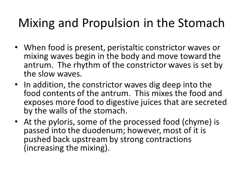 Mixing and Propulsion in the Stomach