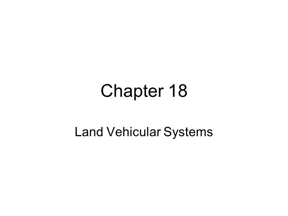 Land Vehicular Systems