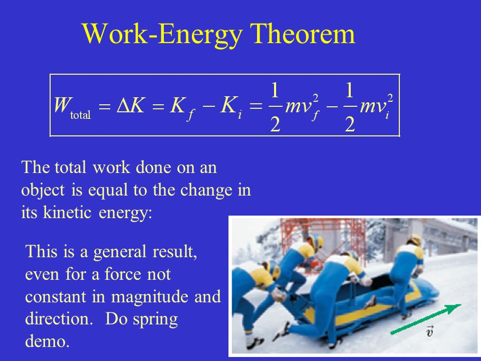 Work-Energy Theorem The total work done on an object is equal to the change in its kinetic energy: