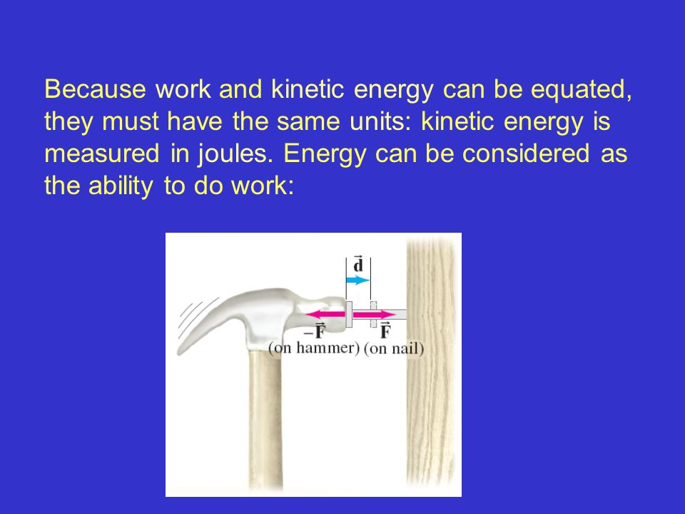 Because work and kinetic energy can be equated, they must have the same units: kinetic energy is measured in joules. Energy can be considered as the ability to do work: