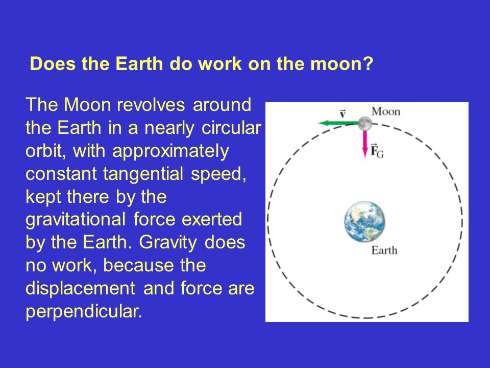 Does the Earth do work on the moon