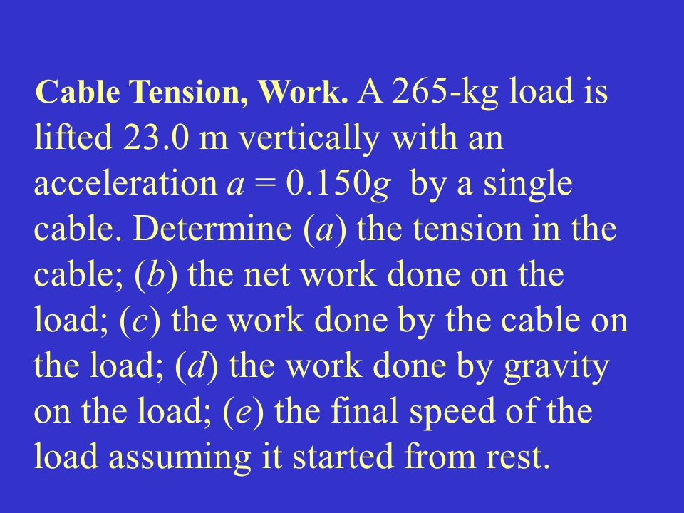 Cable Tension, Work. A 265-kg load is lifted 23