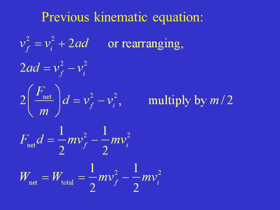 Previous kinematic equation: