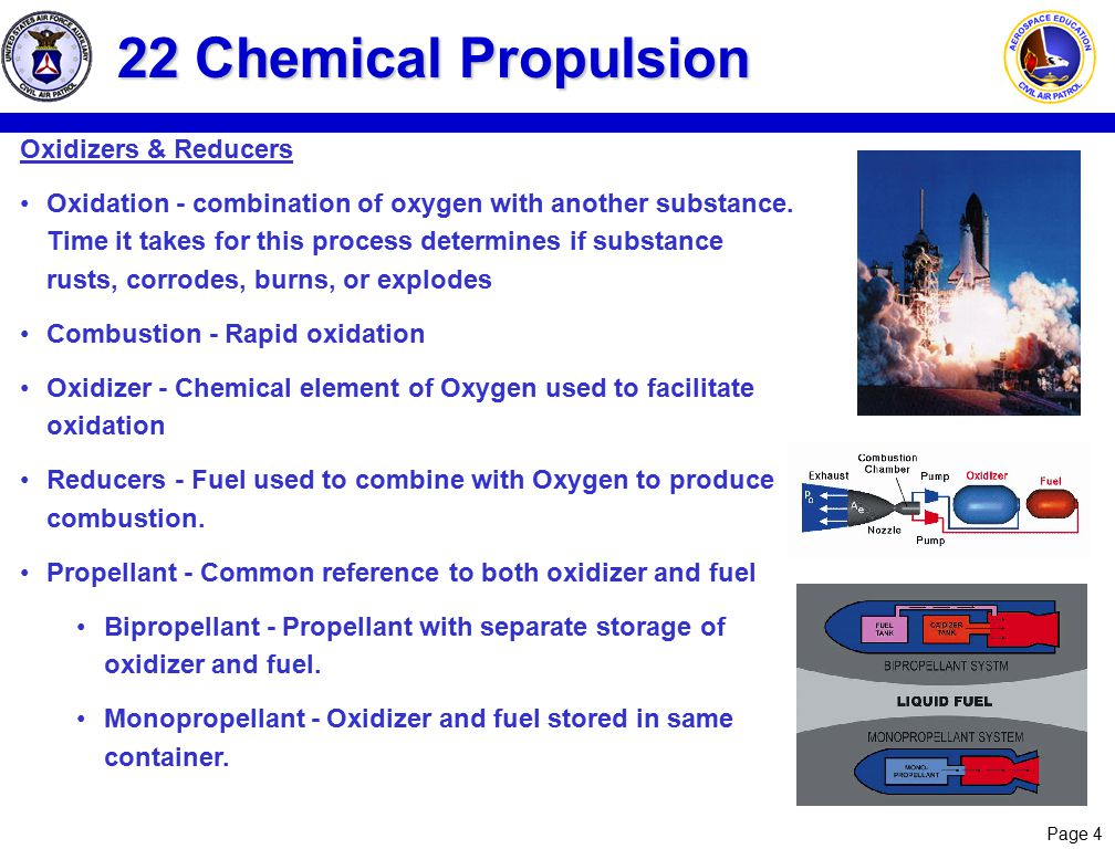 22 Chemical Propulsion Oxidizers & Reducers