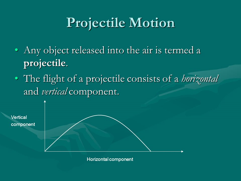 Projectile Motion Any object released into the air is termed a projectile.