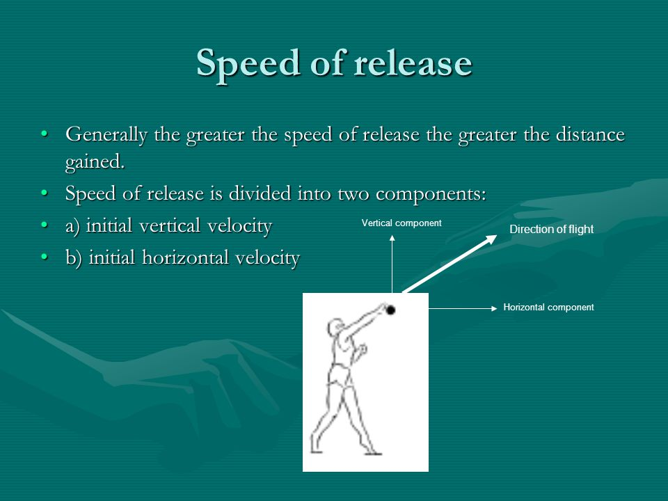 Speed of release Generally the greater the speed of release the greater the distance gained. Speed of release is divided into two components: