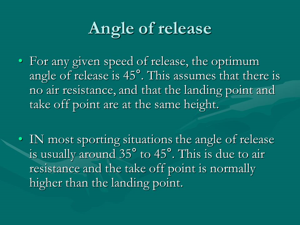 Angle of release