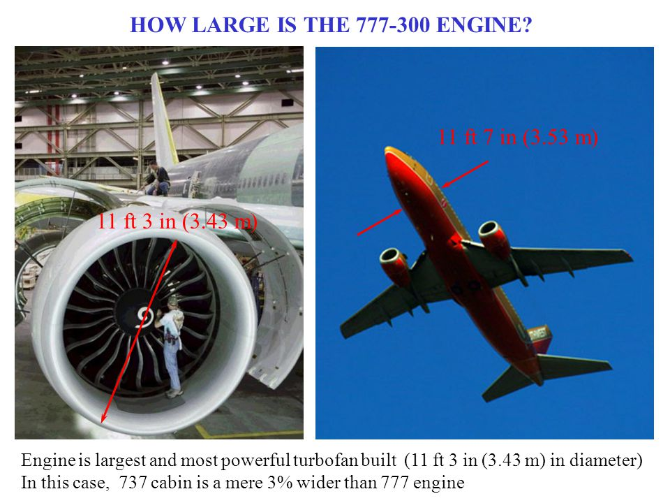 HOW LARGE IS THE 777-300 ENGINE