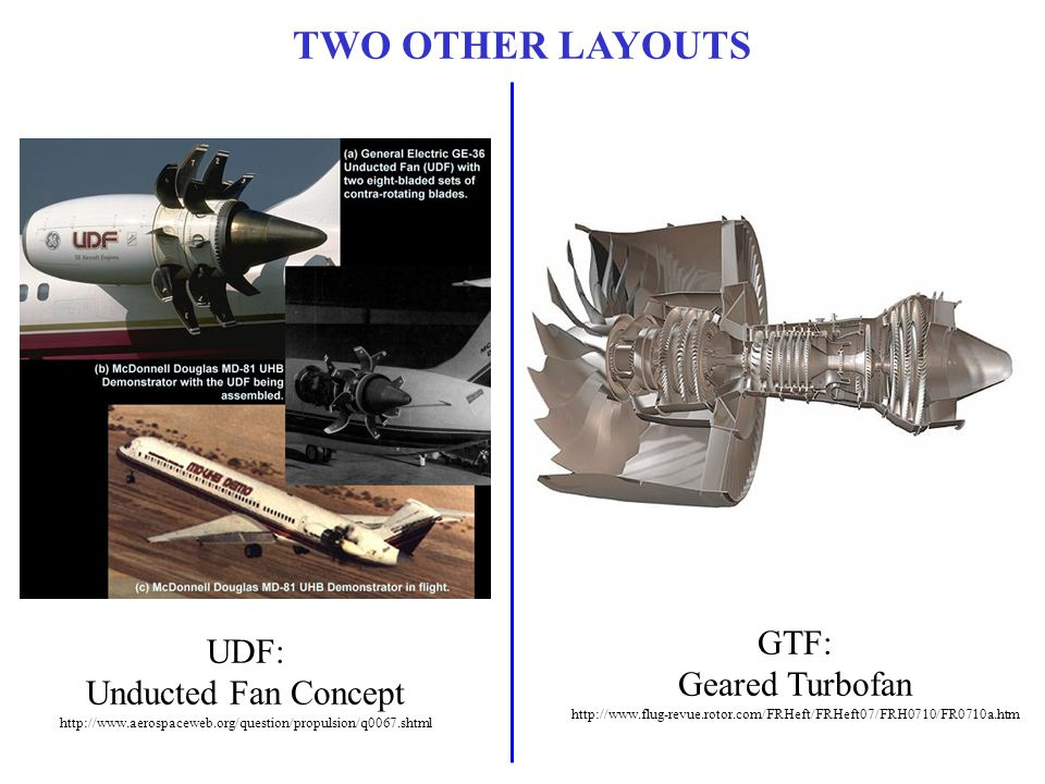 TWO OTHER LAYOUTS GTF: UDF: Geared Turbofan Unducted Fan Concept