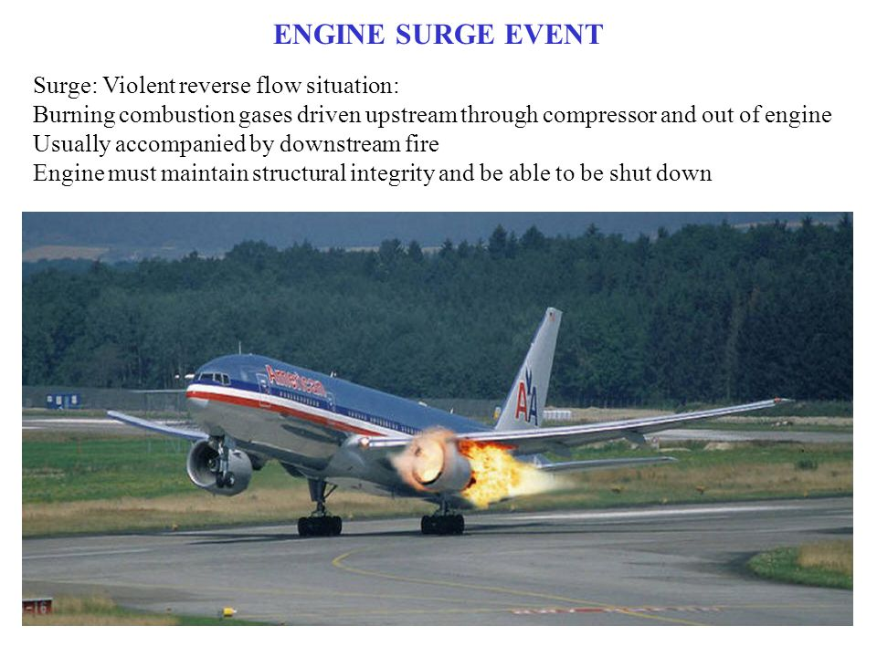 ENGINE SURGE EVENT Surge: Violent reverse flow situation: