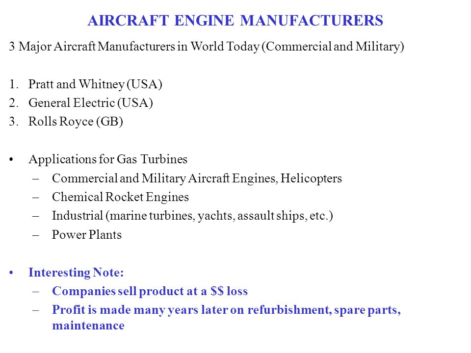 AIRCRAFT ENGINE MANUFACTURERS