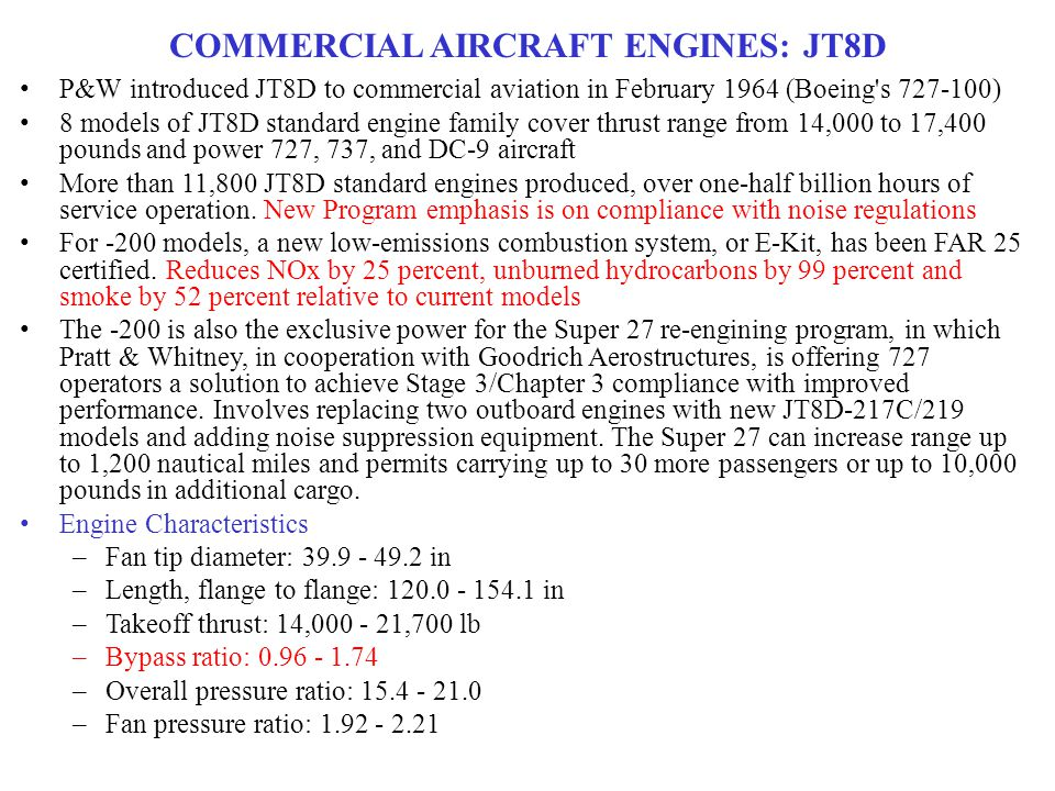 COMMERCIAL AIRCRAFT ENGINES: JT8D