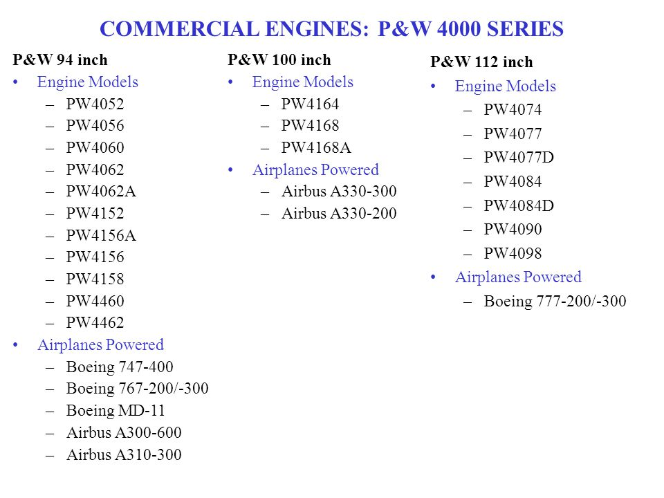 COMMERCIAL ENGINES: P&W 4000 SERIES