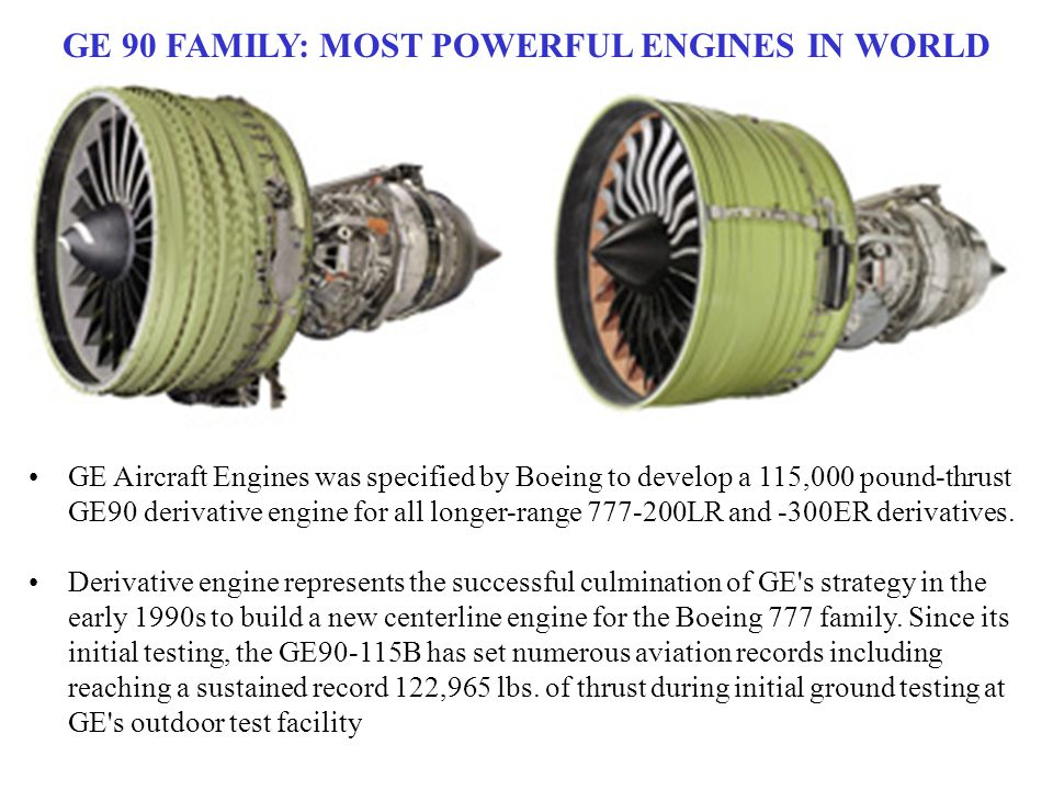 GE 90 FAMILY: MOST POWERFUL ENGINES IN WORLD