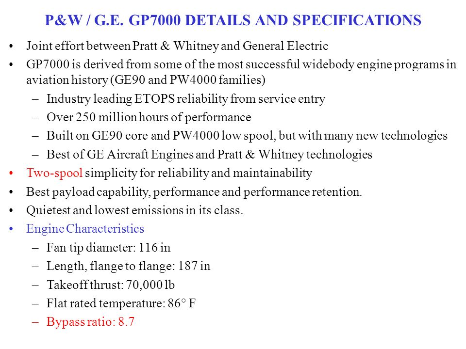 P&W / G.E. GP7000 DETAILS AND SPECIFICATIONS